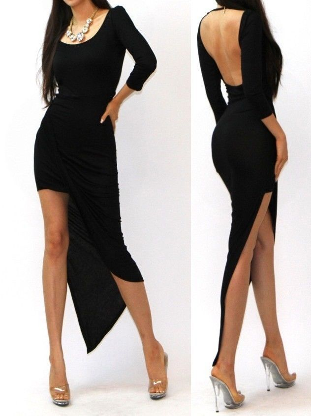 Black Long Sleeve Asymmetrical Dress Designs 2016