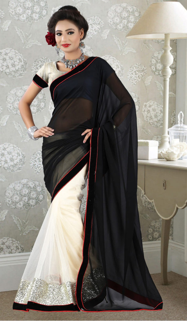 Black and White Evening Sarees Trend 2016