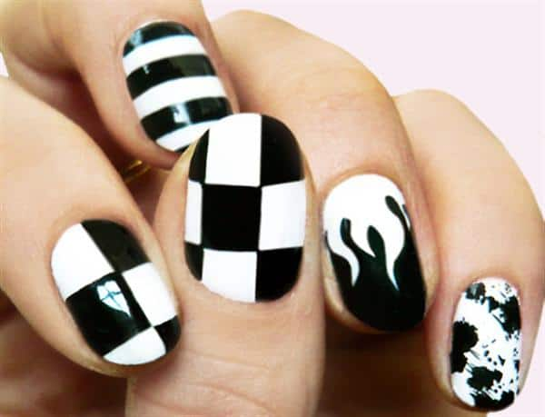 Black and White Nail Art Designs for Beginners