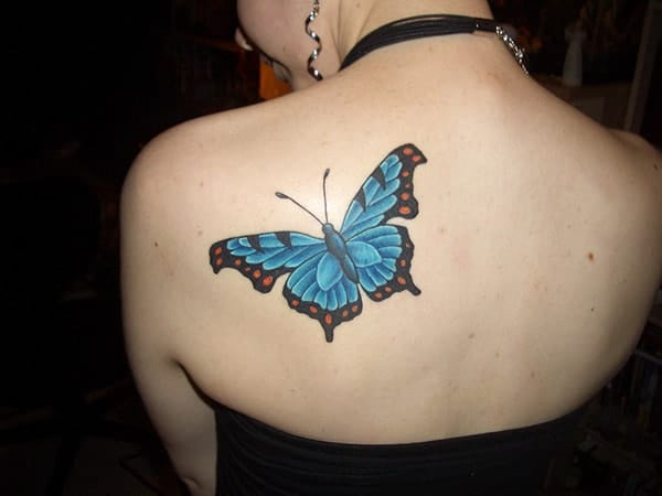 Blue Butterfly Tattoo Design for Back 2016
