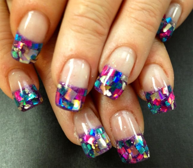 Colorful French Nail Art Design Fashion