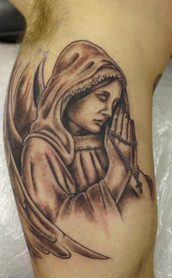 Cool Angel Tattoo With Cross for Arm 2016