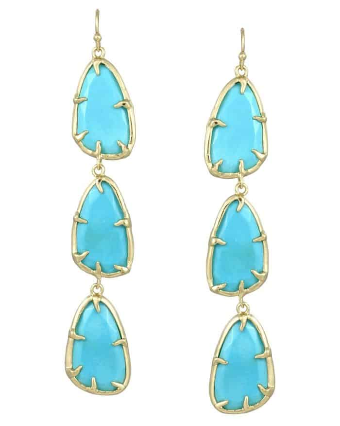 Cool Lillian Long Earrings in Turquoise 2016