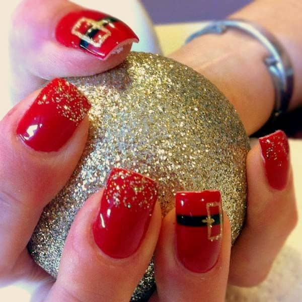 Cute Red Nail Designs for Christmas 2016
