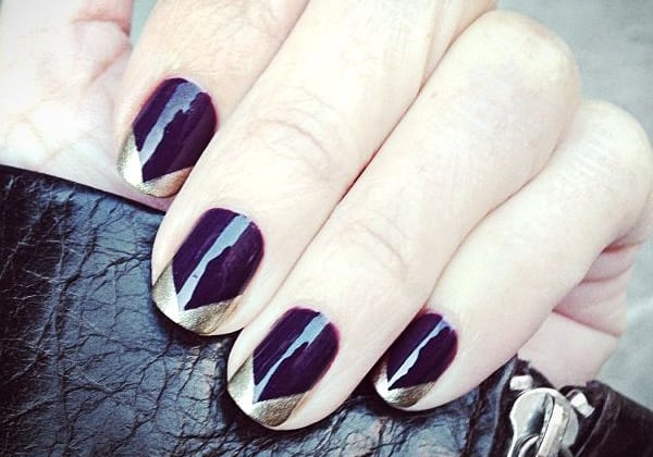 Dark Blue French Nail Art Designs Pictures