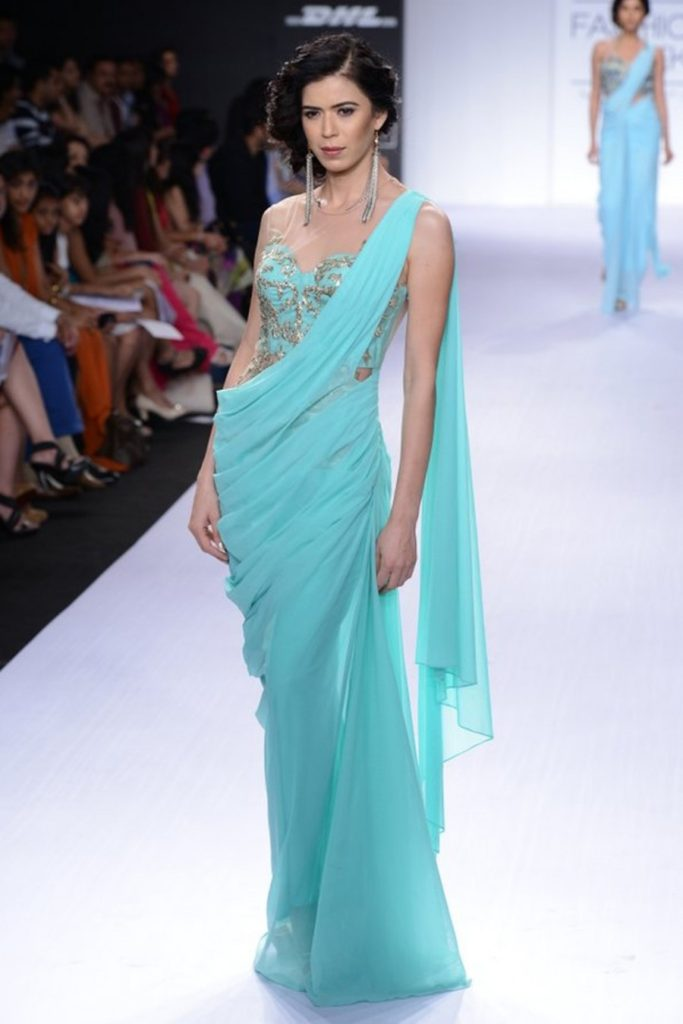 Designer Saree Inspired Evening Dress for Girls