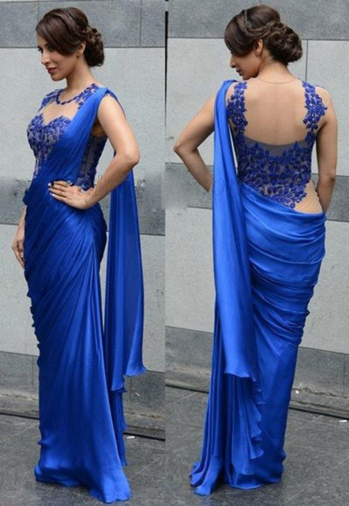 Elegant Evening Blue Sarees With O Neck Sleeveless