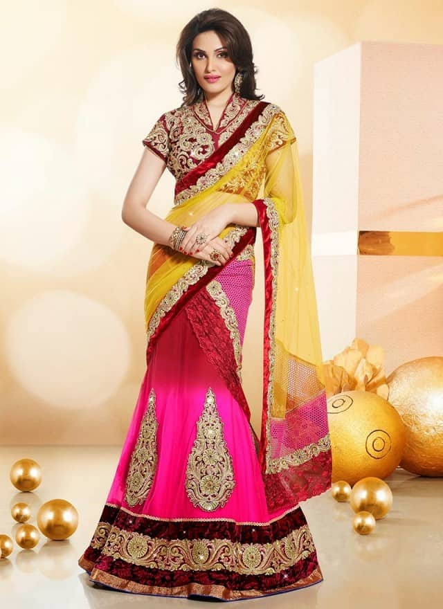 Evening Lehangha Choli Saree Designs for Party