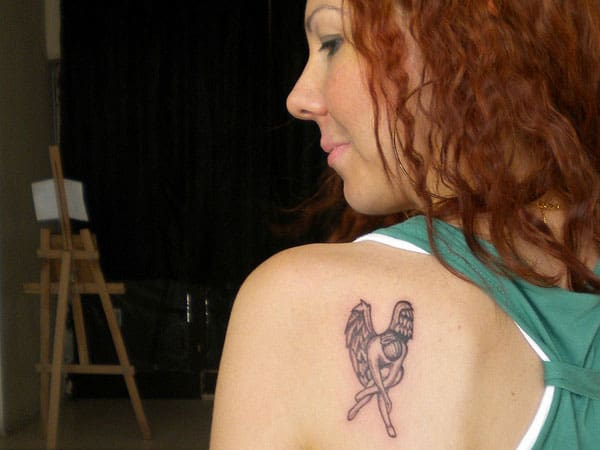 Fallen Angel Tattoos Designs on Shoulder