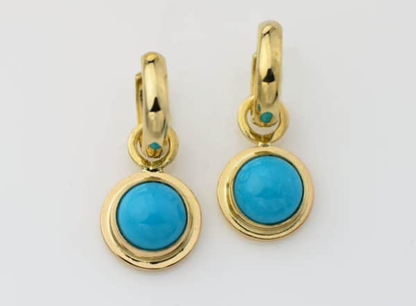 Fancy Gold Hoop Turquoise New Earrings 2016