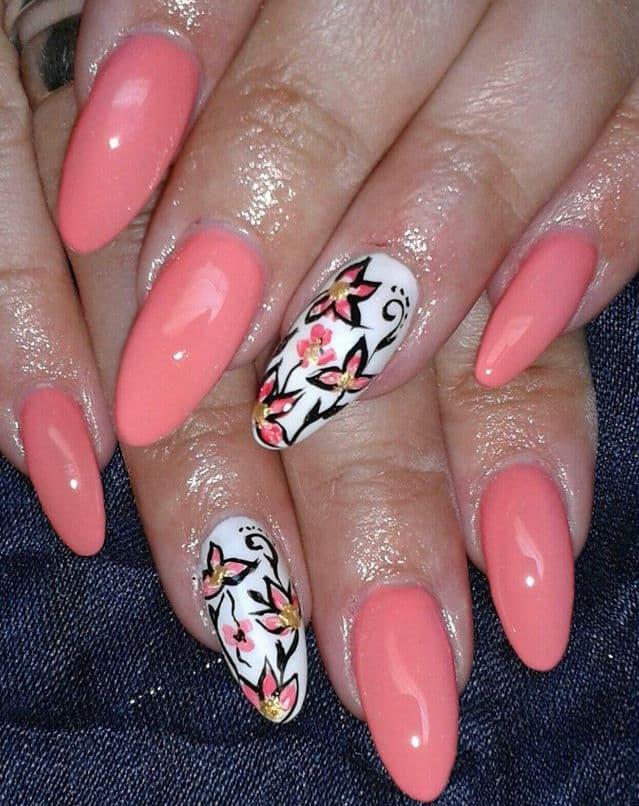 Fancy Nail Designs With Coral Color 2016 - SheIdeas