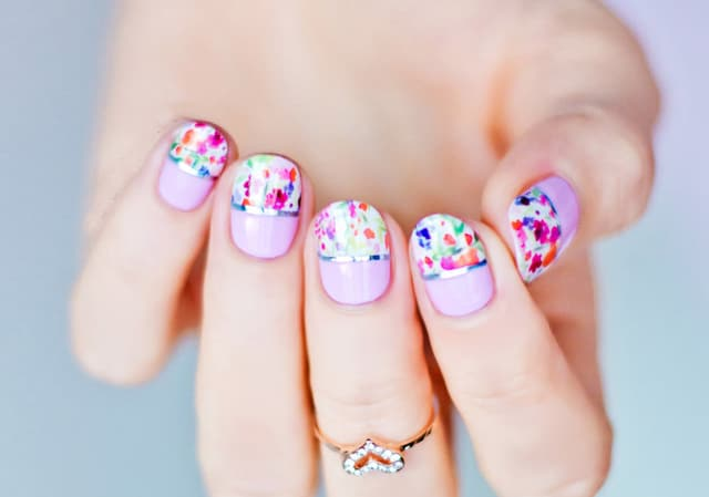 Funky French Nail Ideas With Engagement Ring