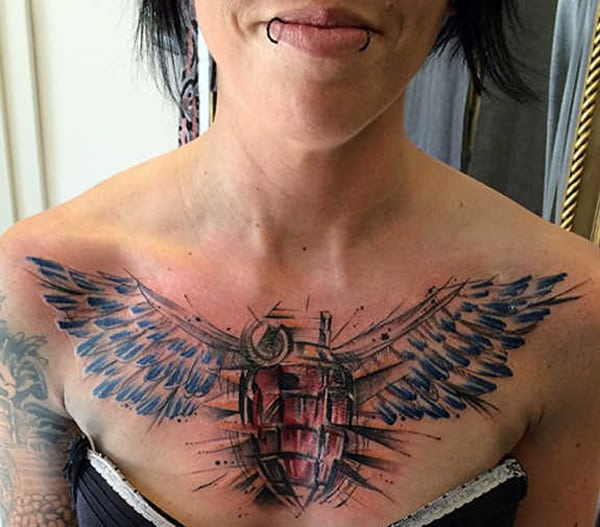 Girls Angel Wings Tattoo Designs on Chest
