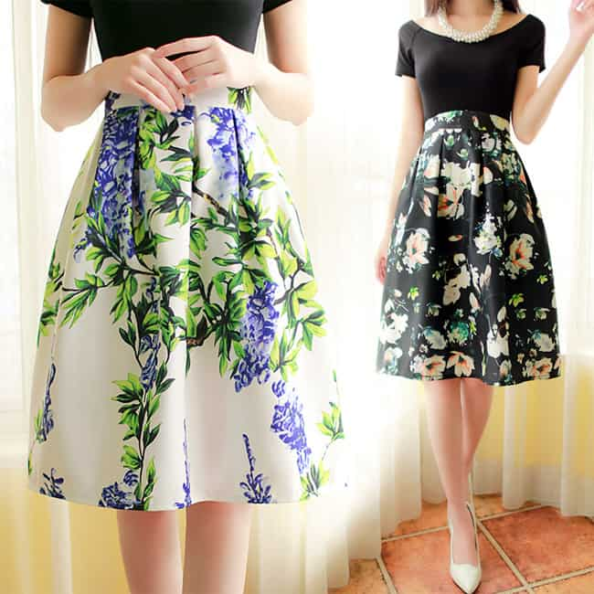 Girls Vintage Knee Length Skirts Designs
