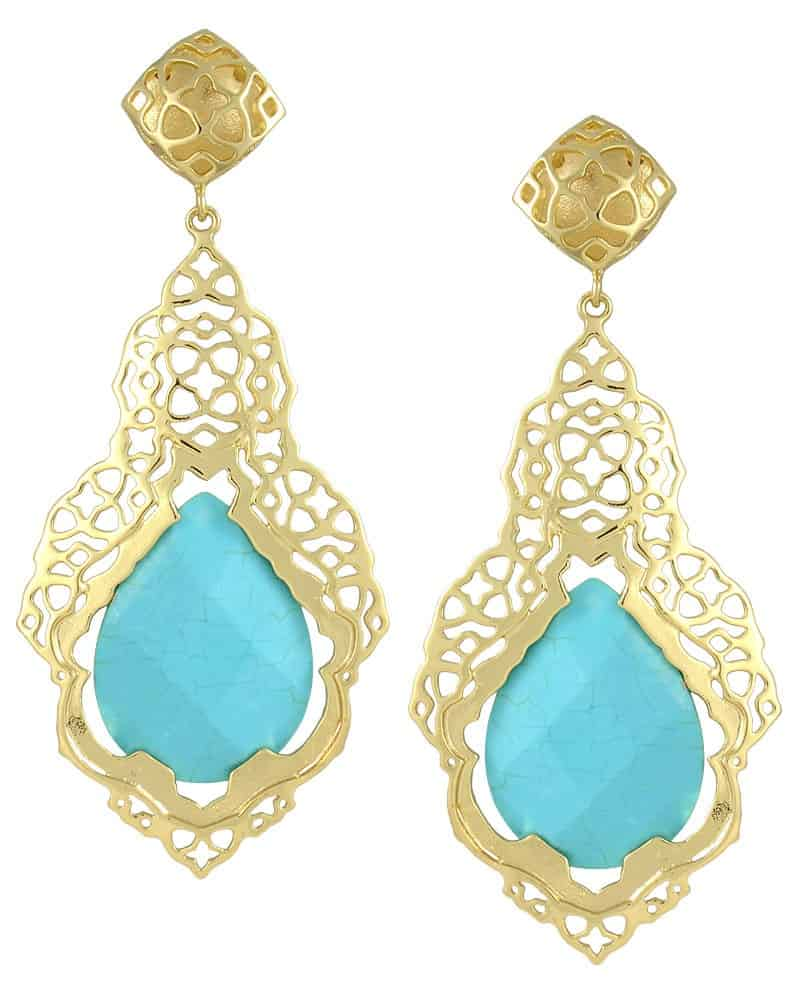 Gold Blue Earrings in Turquoise Stone 2016