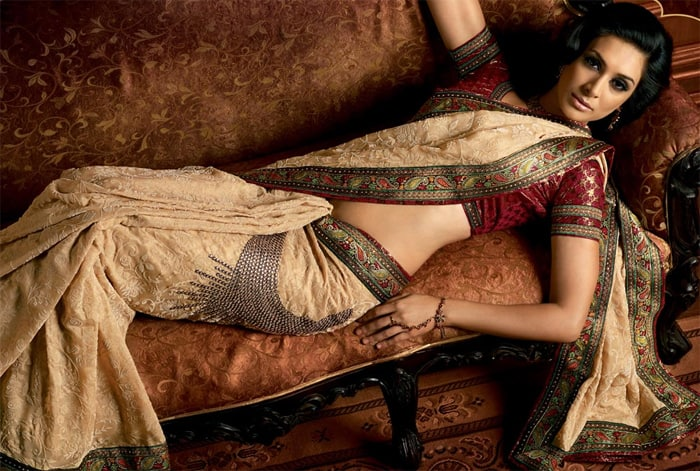 Golden Floral Bolly Lengha and Saree for Brides