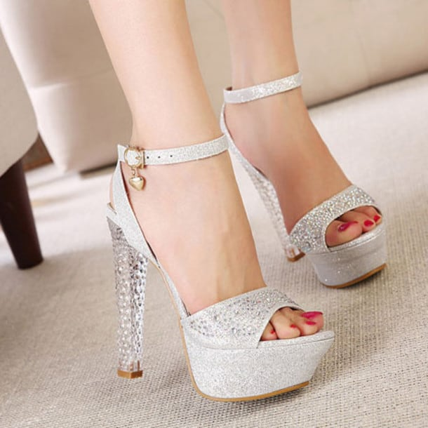 Womens Gold Platform Heels Shoes