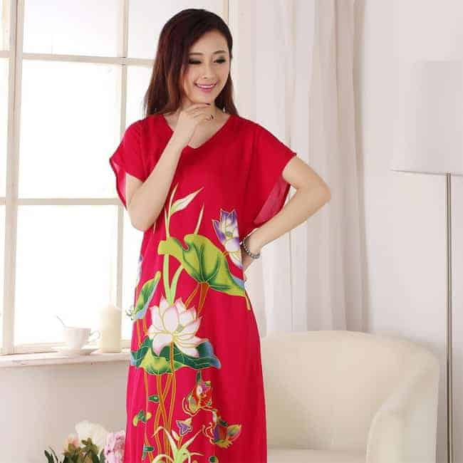 Hot Cotton Flower Nighties Gowns for Summer