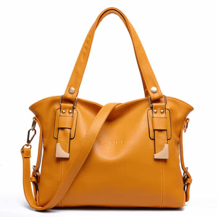 Ladies Leather Designer Handbags in Orange Color