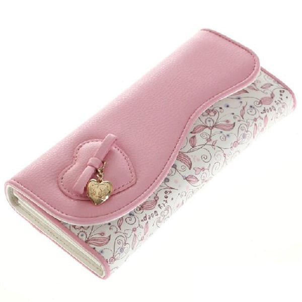 Latest White Pink Long Wallets for Girls 2016
