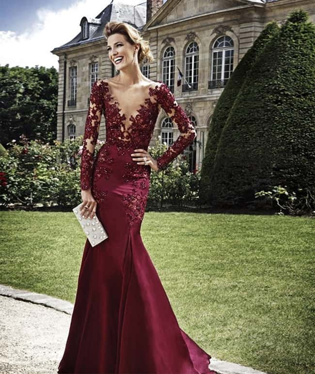 Long Summer Prom Dress With Lace Sleeves