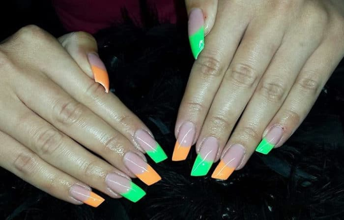 Neon Green and Orange French Nails Designs