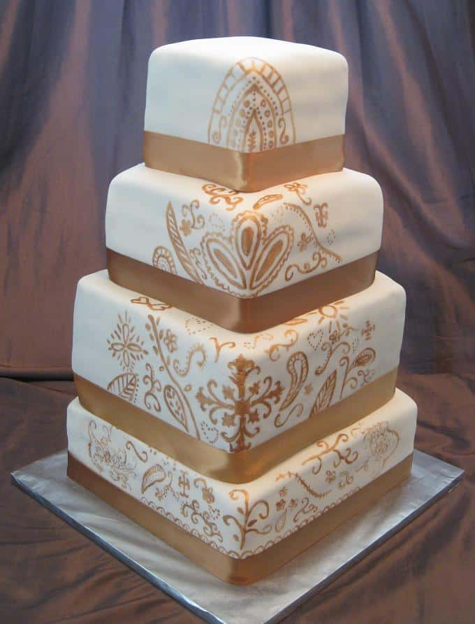 New Square Henna Wedding Cakes Pictures
