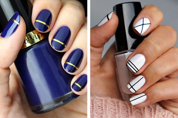 New Stripes Nail Polish Designs At Home