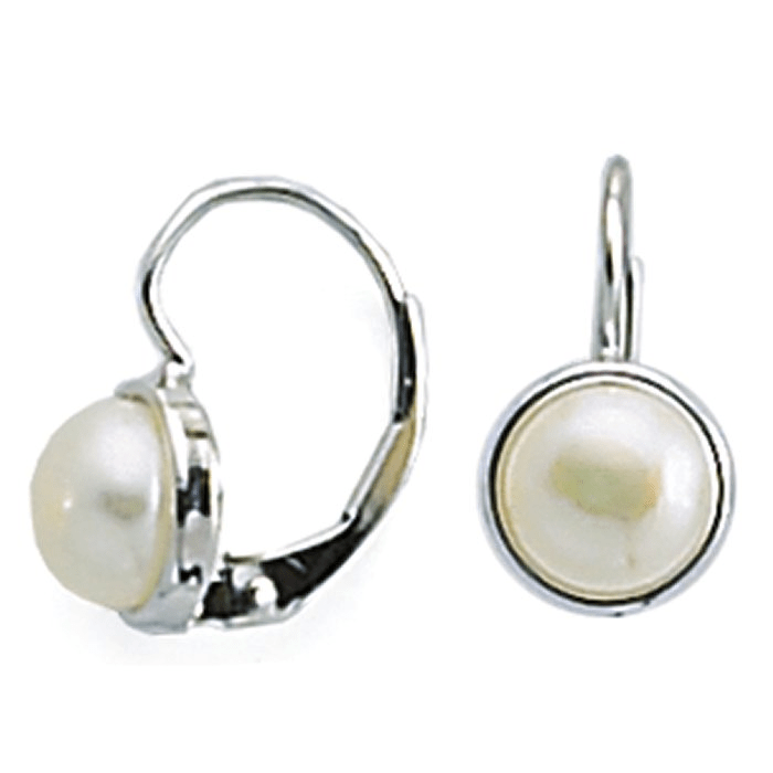 New White Freshwater Button Pearl Set Earrings