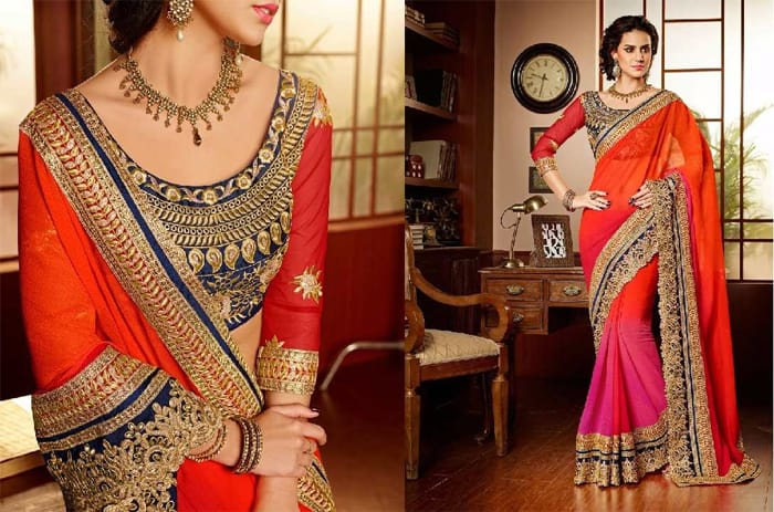 Orange and Pink Designer Saree Trend 2016