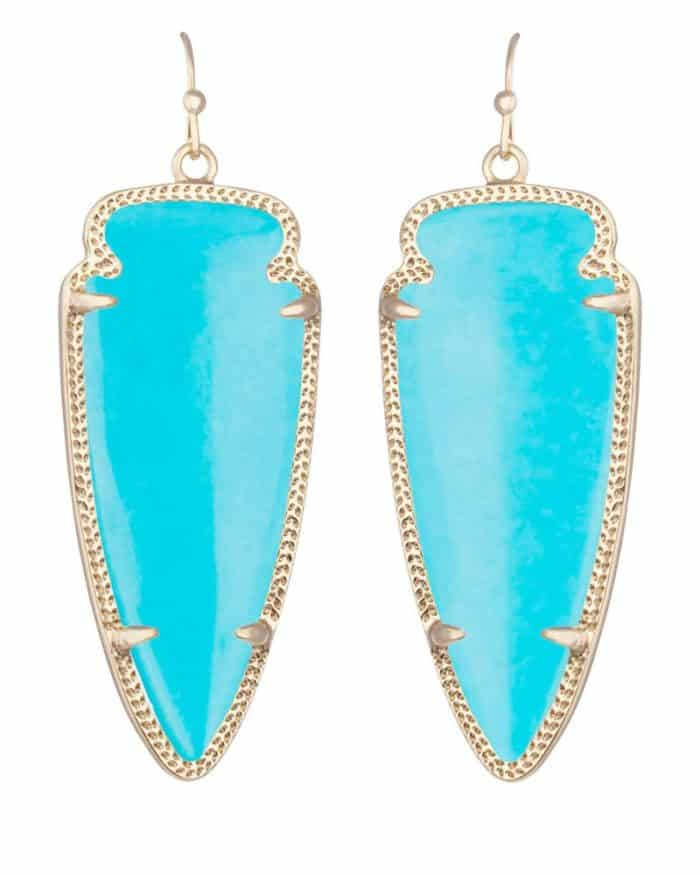 Outstanding Skylar Gold Earrings in Turquoise
