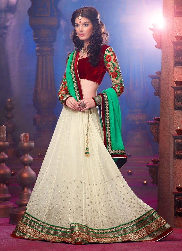 Phenomenal Georgette White Lehenga Choli Design 2016