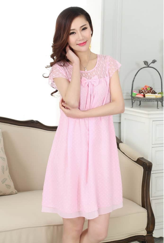 Pink Chiffon Round Neck Nighty Dress