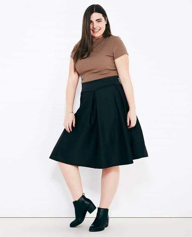 Pleated Knee Length Skirts for Plus Size Women
