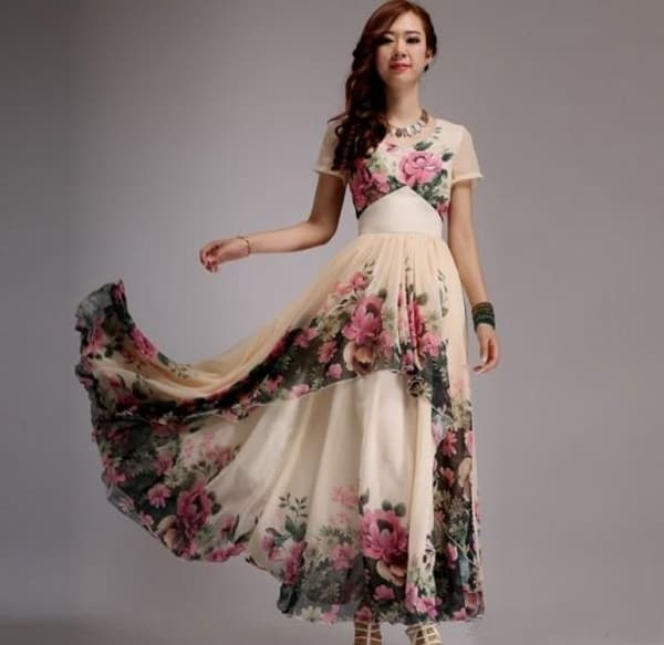 Plus Size Summer Prom Floral Dresses 2016