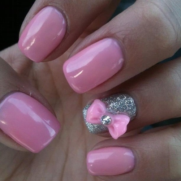 Pretty Nail Designs With 3D Bows in Pink Color