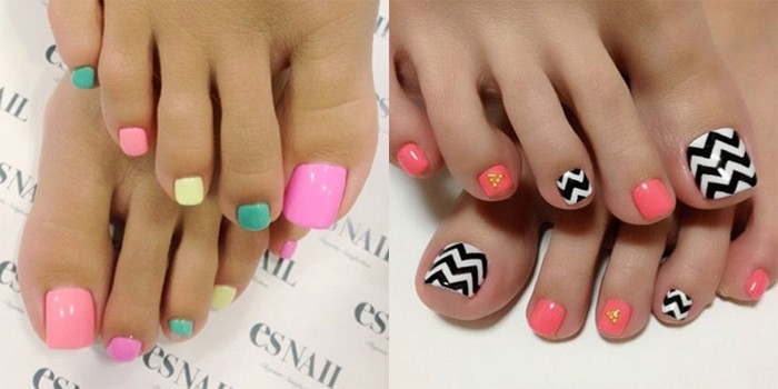 Pretty Summer Toe Nail Art on Feet for Women