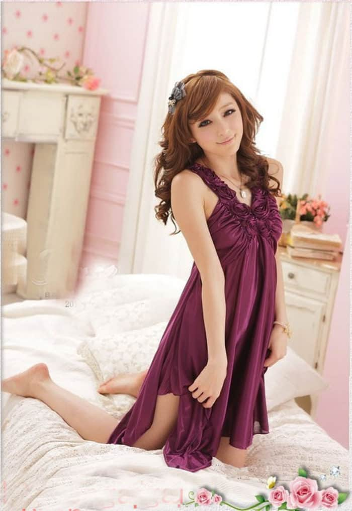 Purple Robe Mini Sleep Wear Nighty Dress