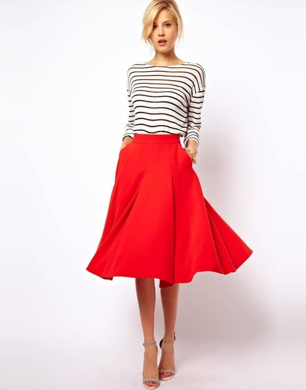 Red Knee Length Maxi Skirts for Girls