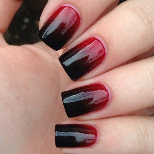 Red and Black Easy Nail Polish Designs 2016