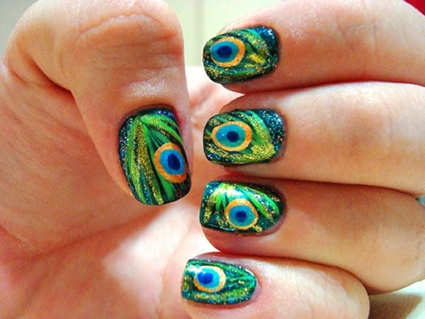 Stylish Peacock Toe Nail Art for Summer 2016