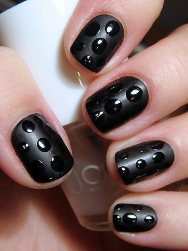 Super Nail Art in Black Color for Party