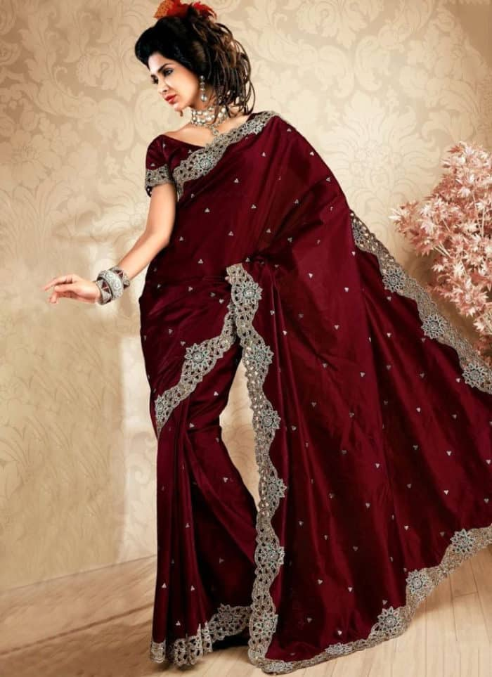 Super Red Evening Saree Design Pictures