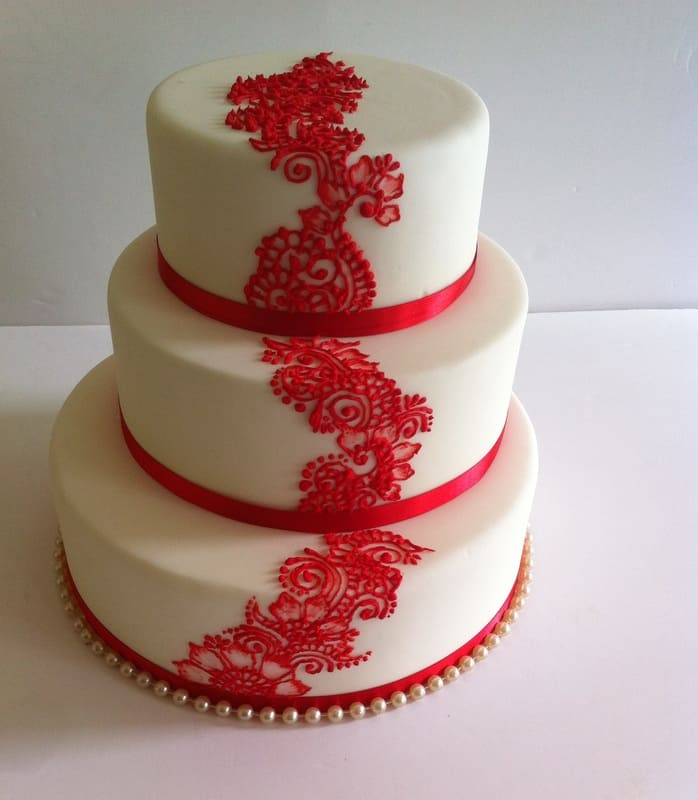 Tiered Animal Red Print Cake for Wedding