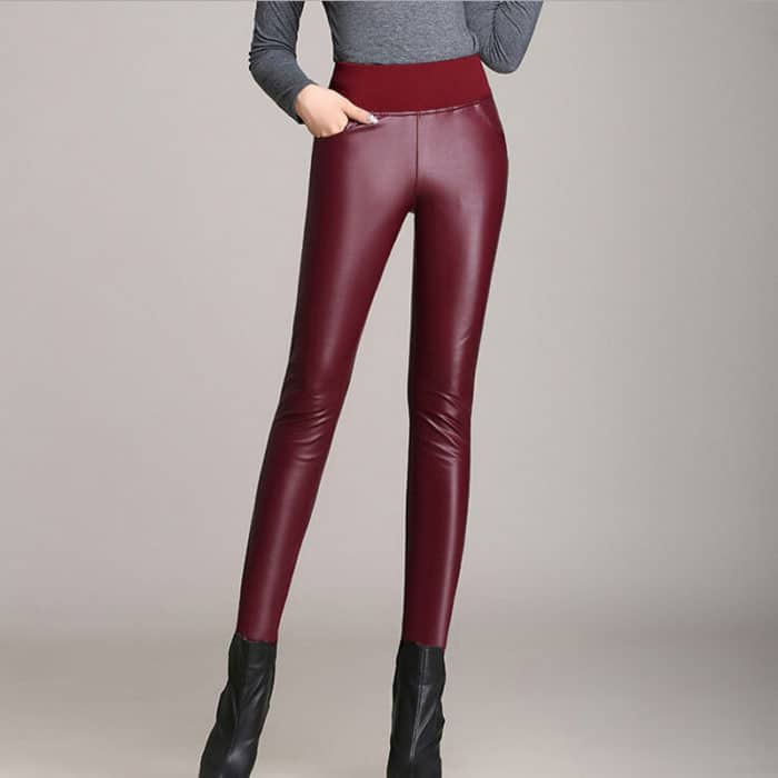 Velvet Thicken Winter Faux Red Leather Pants for Girls