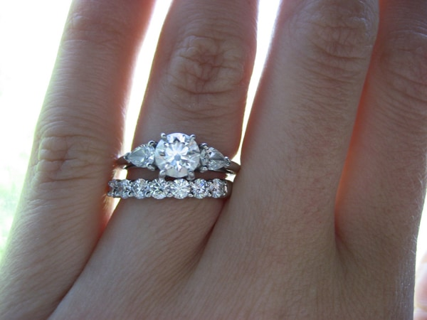 Wedding Ring on Finger With Engagement Ring