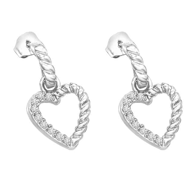White Gold Heart Shaped Earrings for Valentines Day