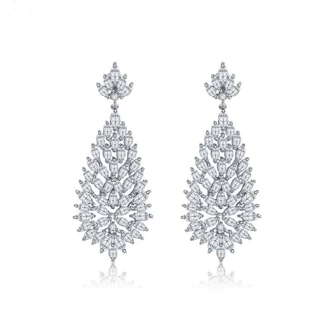 White Gold Jewelry Heavy Earrings for Brides 2016
