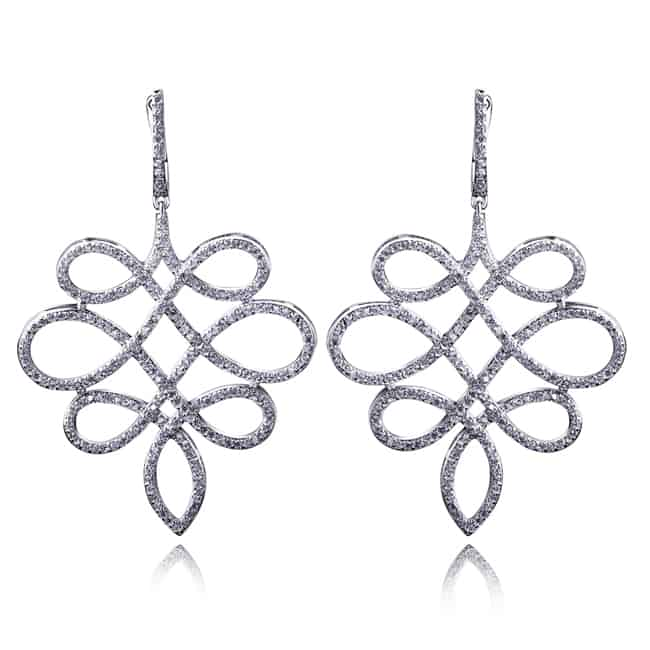 White Gold Plate Chinese Knot Earring Designs