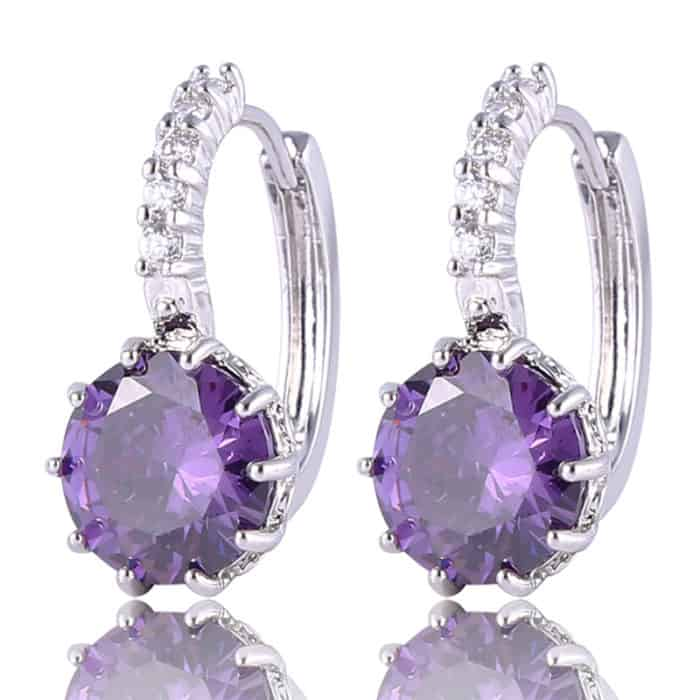 White Gold Plated Crystal Earrings for Women